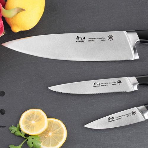 V2 Series   Set of 3 Knives   Steel/Black Handle   Cangshan