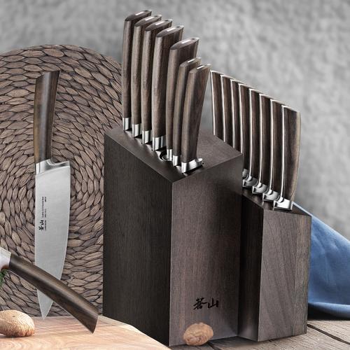 A Series 16-Piece Set   African Blackwood Handle   Cangshan