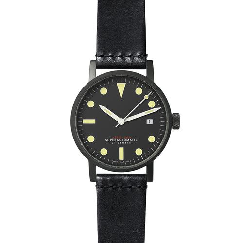 Satin matte Black Mechanical | Tärnsjö Black Leather strap