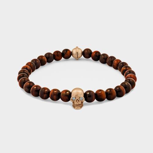 Skull Bracelet | Rose Gold w/ Diamond Eyes