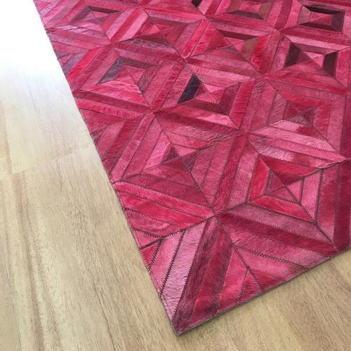 Handmade Leather Pink | Brown Rug