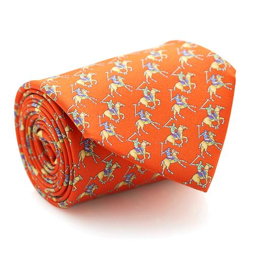 Necktie | Orange with Polo Players Pattern