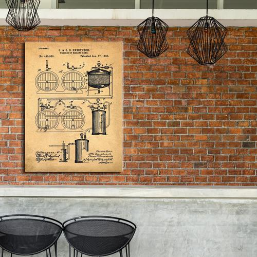 Brewery Patent - 1891- Sepia/Antique   Canvas