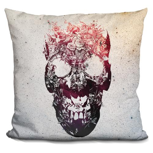 'Floral skull' Throw Pillow