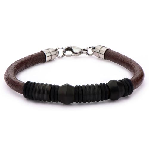 Men's Brown Smooth Leather with Black Beads Bracelet