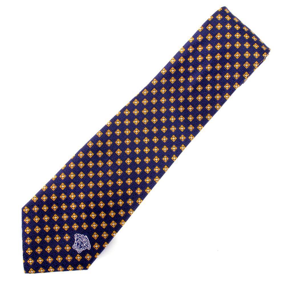 versace silk tie navy blue