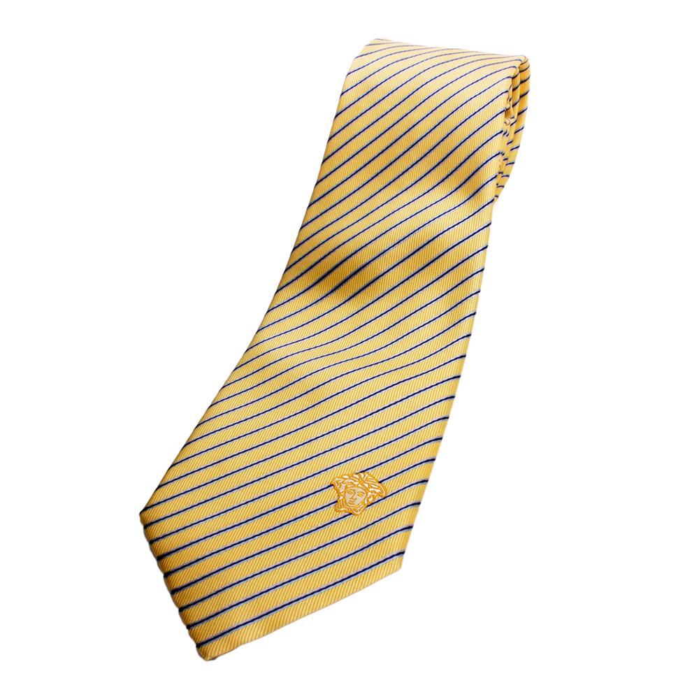 versace silk tie yellowblue