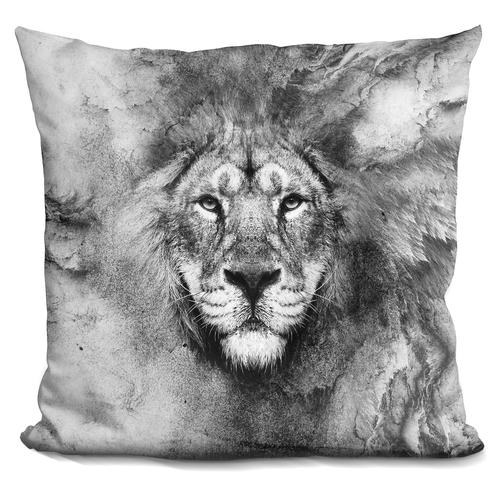 Riza Peker 'Lion BW' Throw Pillow
