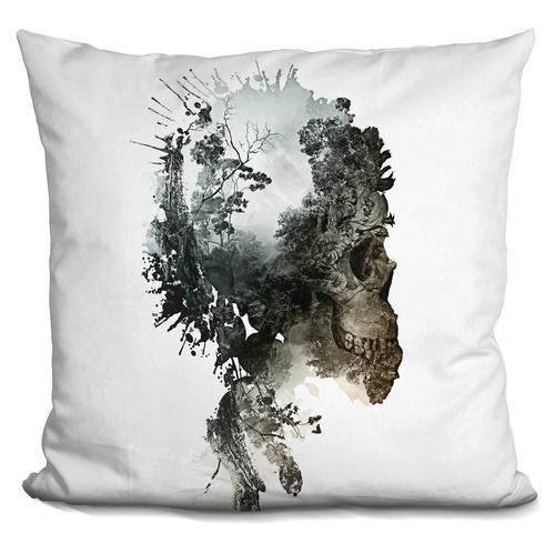 Riza Peker 'Skull - metamorphosis' Throw Pillow
