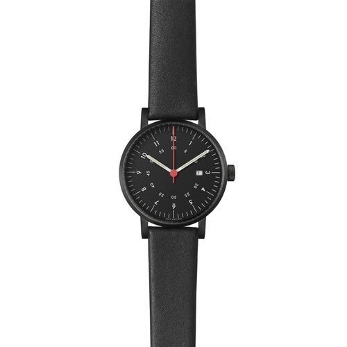 Black Round Date | Black Leather Strap